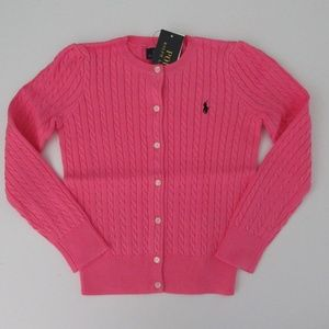 Ralph Lauren LS MIni Cable Cardigan Sweater Pink